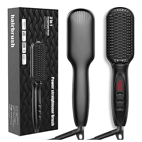 Hair Straightener Brush, JUMPHIGH Ionic Hair Straightening Brush with Fast MCH Ceramic Heating, Anti-Scald, Auto Temperature Lock and Auto-Off Function, Portable Straightening Comb for Home and Travel