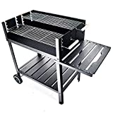 JOM Barbecue, Grill, Smoker in Charcoal Stainless Steel 114cm x 57cm x 89cm, Grilling surface 75cm x 50cm, 2X grids with separate adjustment, 2 Displacement wheels
