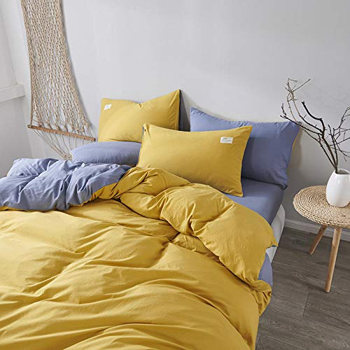 WSNALGQ 3D Printed Bedding Duvet Cover Set 4 Pieces Turmeric blue solid color Microfiber Duvet Cover Single Size 59x78.7 inch 1 sheet+2 pillowcases 50x75cm for adults, teenagers and children