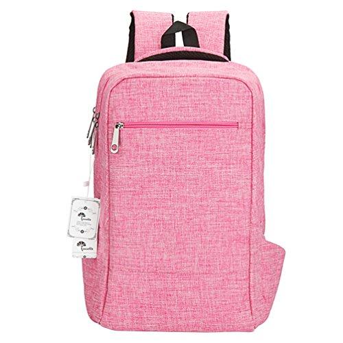 Winblo - Mochila para portátil (15 15,6 pulgadas), mochila ligera de viaje negro rosa L