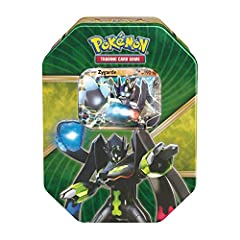 Includes foil Zygarde-EX promo card! 4 Pokémon TCG booster packs Code card to unlock a playable deck in the Pokémon TCG online! Each Pokémon TCG booster pack contains 10 cards This rugged tin contains a mighty Pokémon-ex from the Kalos region-ready t...