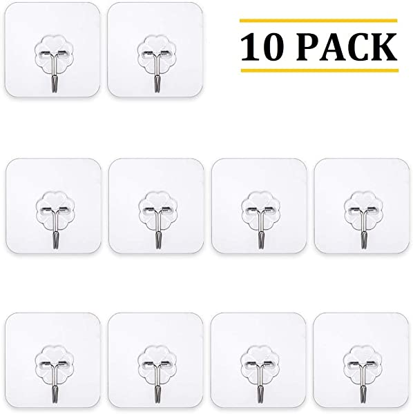 OOCC 10 Pcs Nail Free Powerful Adhesive Hooks Max 10kg 22lbs Transparent Reusable Heavy Duty Sticky Hooks For Bathroom Kitchen Wall And Ceiling No Scratch Waterproof And Oilproof