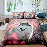 Pup Dog Comforter Cover,Husky Puppy Pet Bedding Set for Kids Lady Young,Boys Girls Garden Flower Floral Jungle Duvet Cover,Natural Scenery Cute Animal Bedroom Decor for Dog Lover Twin Size