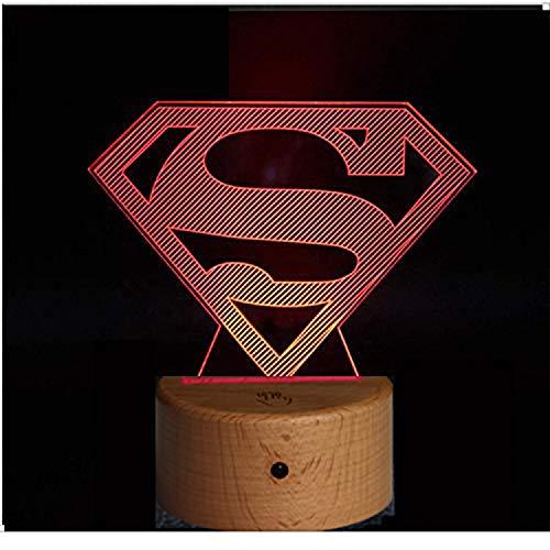 RecontraMago Lamparas de Mesa de Noche - Madera 2020 Modelo Led con Tu Forma Favorita - Lamparas Infantiles de Decoración - Regalo Original para Niños Tactil Modernas Salon (Superman)