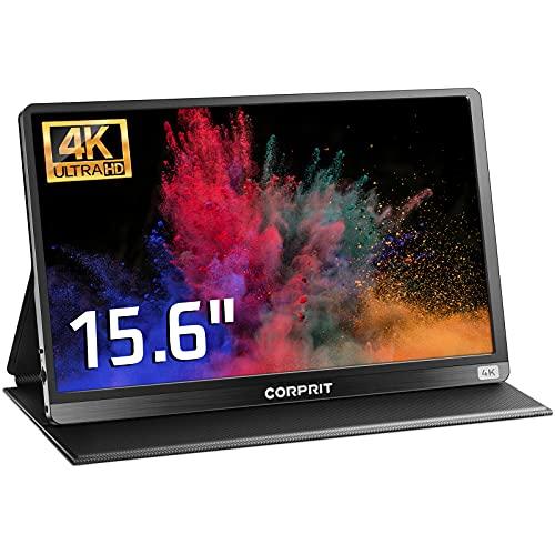 Monitor Portátil 4K colores 100% RGB, Pantalla Extensible Portátil Corprit UHD IPS de 15,6 pulgadas, Pantalla Portátil HDMI USB Tipo-C para Portátil, Ordenador, PC, Teléfono, X Box, PS4C