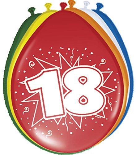 Folat 08218 18. Geburtstag Ballons 30 cm-8 Stück, Mehrfarbig