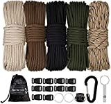 MONOBIN Paracord Combo Kits - 550 Type III Parachute Cord - Bracelet Crafting Kits, Survival Rope Making lanyards,Dog Collar,Bracelet (100FT-550lb A)