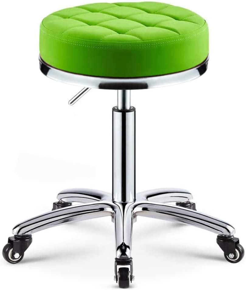 Beauty Saddle Stool on Wheel,Mobile Green PU 55% OFF with Max 75% OFF Synthe