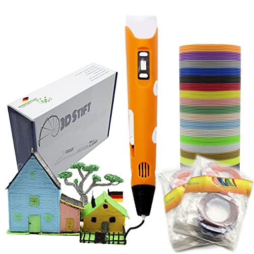 KreativKids 3D Stift + 40 x 5m PLA Filament 200 m. 3D Stifte. 3D Druck Stift mit LCD Bildschirm, für Kinder und Erwachsene. PLA Filament [20 Farben x 10m Φ 1,75 mm]