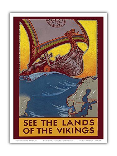 See The Land of The Vikings - Map of Scandinavia - Viking Ship - Vintage Travel Poster by Ben Blessum c.1937 - Master Art Print 9in x 12in