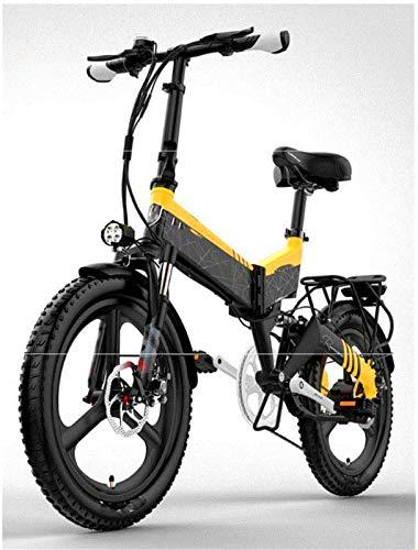 Bicicleta de montaña eléctrica, Bicicleta plegable eléctrica adultos, 20 '' City Mountain E-bici 48V de la batería extraíble con anti-robo sistema de frenos de doble disco delantero y trasero Doble Su