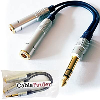 "PRO 6.35mm Stereo Splitter Cable- 1/4"" Plug To 2 x Jack Socket Gold Headphone Y T Audio Adapter - Loops Lead by Loops"