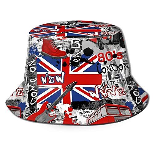 LENGDANU Sombrero unisex del cubo de la impresión de las flores azules del casquillo, casquillo del pescador del viaje del verano del poliéster 100%, sombrero plegable del sol de la playa