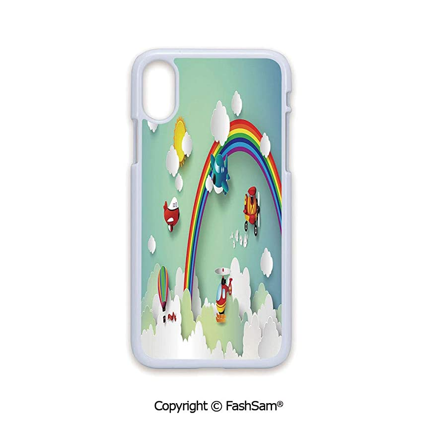 Plastic Rigid Mobile Phone case Compatible with iPhone X Black Edge Plane Hot Air Balloon Helicopter Flying on Rainbow Sunny Sky Happy Baby Illustration 2D Print Hard Plastic Phone Case