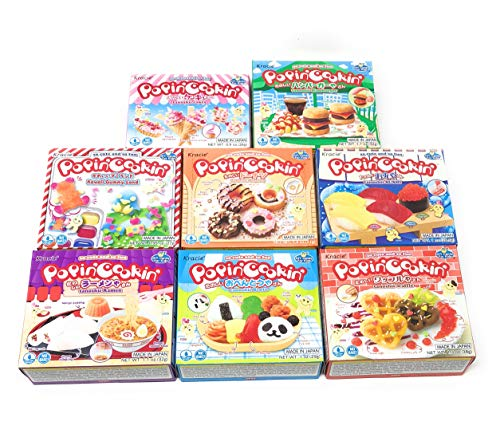 Popin' Cookin Diy Candy Kit (8 Pack Varieties) - Tanoshii Bento, Ramen and Waffle, Cakes, Sushi and Donuts, Hamburger, and Kawaii Gummy Land in Fusion Select Gift Box
