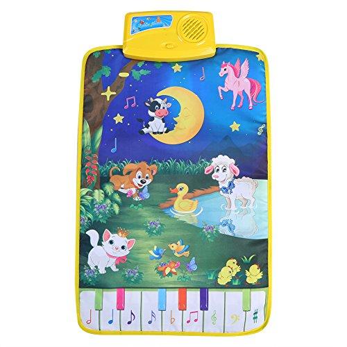 Fdit tapijt voor baby's, muziek, mat, kinderen, kruipen, piano, multifunctioneel, volume, magisch, babydeken, dieren, 37 x 62 cm