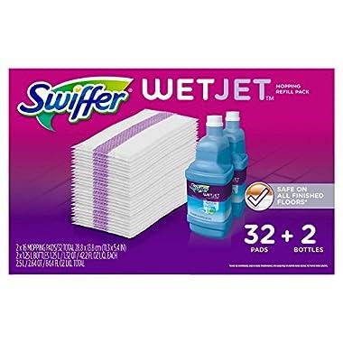 Swiffer Wetjet Mopping Refill Pack (32 Pads plus 2 Bottles of Cleaner 1.25L ea.)