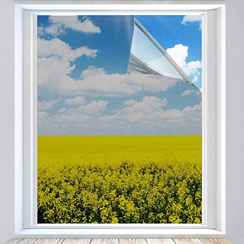 XtraCare Spiegelfolie Selbstklebend Sonnenschutzfolie Fensterfolie für Wärmeisolierung, UV-Schutz und Sichtschutz (Silber, 90 x 200 cm)
