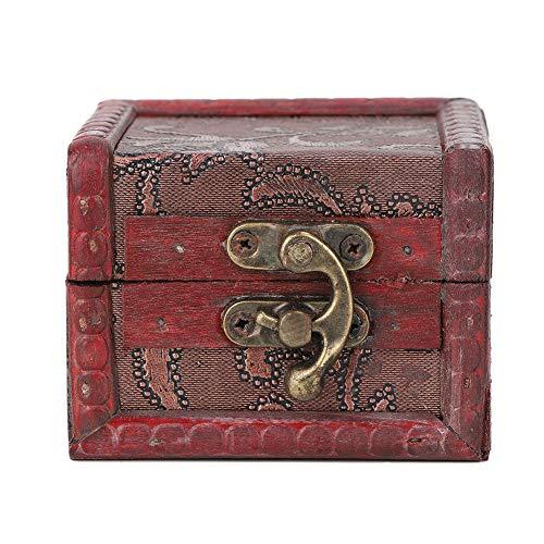 OhhGo Caja de almacenamiento de joyería vintage hecha a mano de madera decorativa (flor)