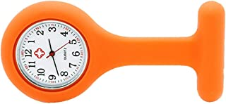Potelin Womens Fob Pocket Watch for Nurse Silicone Orange Brooch Durable and Useful