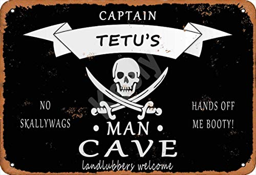 560 WENKLL Pirate Captain Tetu'S Man Cave Landlubbers Welcome Metal Sign 8x12inch Pub Shed Bar Man Cave Home Bedroom Office Kitchen Gift