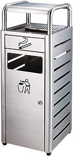 フリースタンディングステンレス鋼屋外ダストゴミ箱ビンシガレット灰皿スタンド、工業ガーデンスクエアリサイクルゴミ箱 (Color : Stainless steel, サイズ : 89cm)