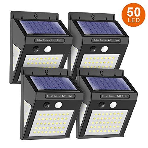 ERAY Lampe Solaire Extérieure 50 LEDs avec Détecteur de Mouvement, Grand Angle d'éclairage 270 °/ IP65 Étanche/ 350 Lumens, Idéal pour Jardin, Garage, Allée - 4 Pièces