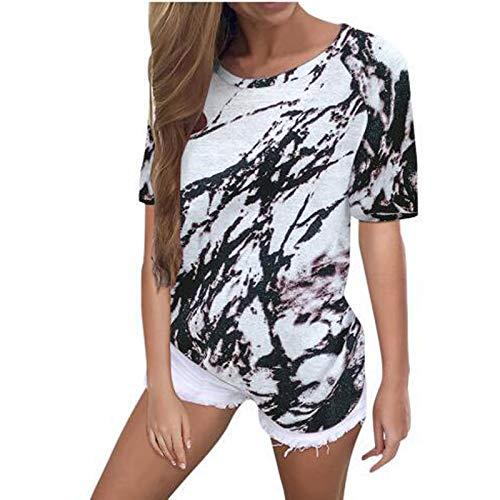CHMORA Camiseta de mujer para mujer, informal, de verano, con estampado de teñido anudado, cuello redondo, manga corta, ideal como regalo para mujer