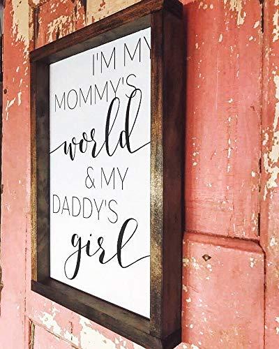 Atwo3242de Im my mommys world and my daddys girl Nursery Decor Panneaux de chambre d'enfant Nouveau bébé nouvelle maman Baby shower panneaux en bois