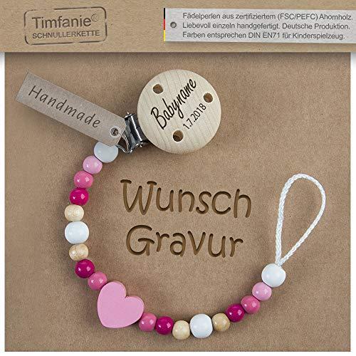 Schnullerkette mit Namen | für Mädchen | Timfanie® rosa-Herz