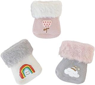Bebé recién nacido calcetines de invierno con forro térmico, dulce y encantador motivo de dibujos animados 0-36 meses niños niñas gruesas calcetines de algodón cálido 3 pares