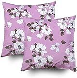 Juego de 2 fundas de almohada para cama, diseño de flores de rosas silvestres de 45 x 45 cm, para decoración de hogar, dormitorio y sofá