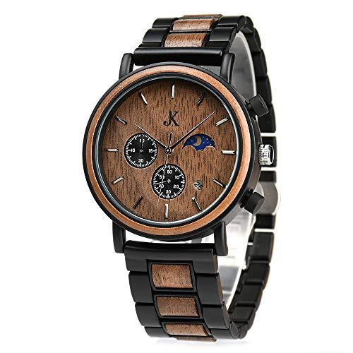 Kim Johanson Herren Holz-Edelstahl Armbanduhr *Military* in Dunkelbraun Chronograph mit Sonne & Mond Anzeige & einem Gliederarmband Handgefertigt Quarz Analog Uhr inkl. Geschenkbox