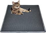 """Cat Litter Mat Litter Trapping Mat, 30"""" X 24"""" Inch Honeycomb Double Layer Design Waterproof Urine Proof Trapper Mat for Litter Boxes, Large Size Easy Clean Scatter Control"""