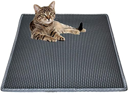 Cat Litter Mat Litter Trapping Mat, 30' X 24' Inch Honeycomb Double Layer Design Waterproof Urine Proof Trapper Mat for Litter Boxes, Large Size Easy Clean Scatter Control