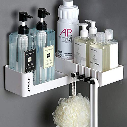LINFIDITE Adhesive Shower Caddy Bathroom Shelf Rotating Expandable Wall Mount Storage Rack Organizer No Drilling Shower Shelf Shampoo Spices Holder w Clear AdhesiveStorage Rack for BathroomWhite