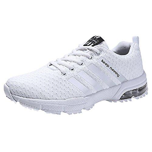 Damen Herren Laufschuhe Sportschuhe Turnschuhe Trainers Running Fitness Atmungsaktiv Sneakers (47 EU, Weiß)