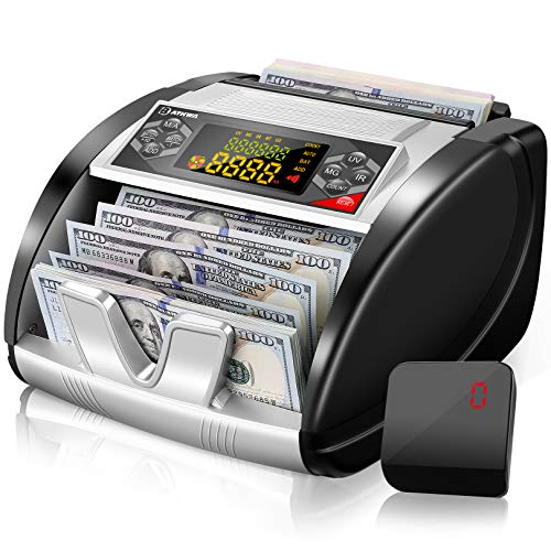Money Counter Portable with UV/MG/IR Detection, Bill Counting Machine for Counterfeit Detection, with LED Display, Hidden Handle, Batch Mode, 1000 Notes Per Minute