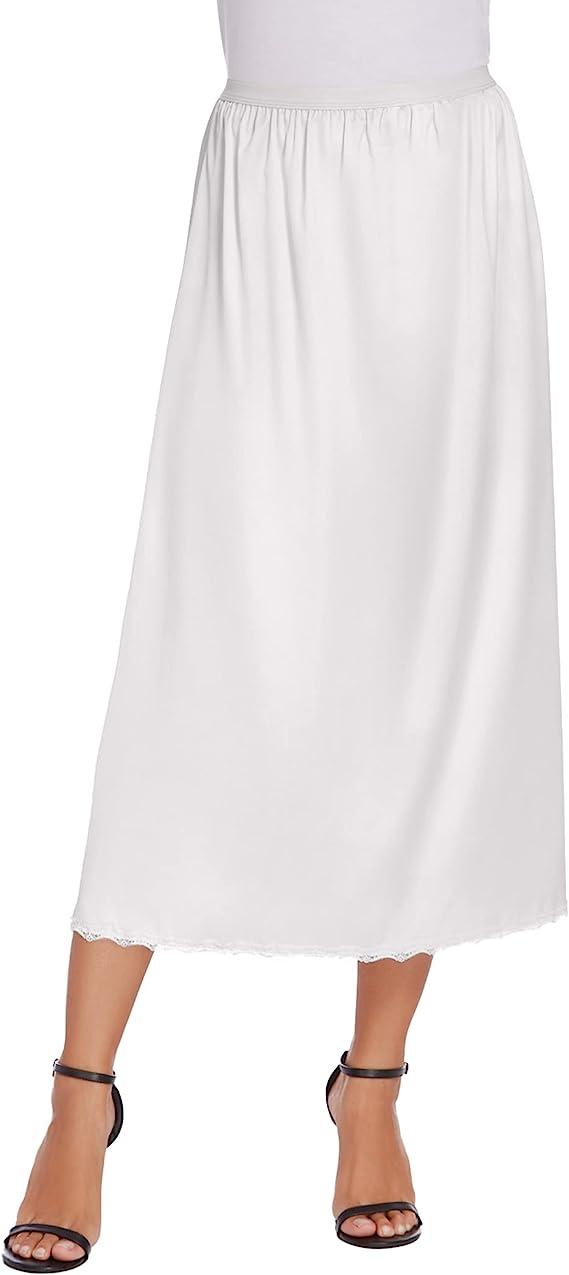 1940s Lingerie- Bra, Girdle, Slips, Underwear History Avidlove Womens Satin Half Slip 36 Lace Long Underskirt S-XXL  AT vintagedancer.com