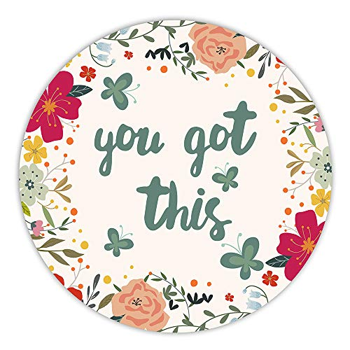 AGMdesign You Got This Inspirational Quotes Round Floral Mouse Pad, Desk Accessories, Coworker Gifts, Non-Slip, Waterproof, Stitched Edges, 7.87 x 7.87 x 0.12 Inch