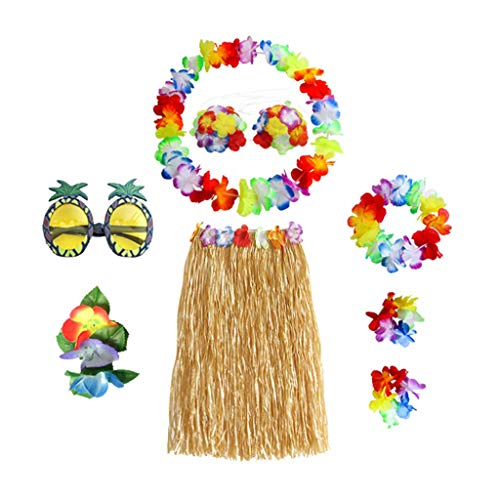 lahomia Carnival Hawaii Skirt Set Bast Skirt South Seas Pacific Hula Skirt with Flower Garland - Multicolor, Straw Color 80cm