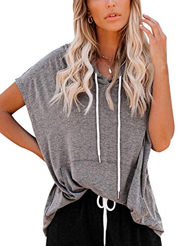 Vivitulip Women's Short Sleeve Sweatshirts Casual Loose Fit Pocket Tunics Hoodies Shirts (Charcoal,Large)