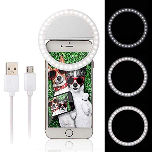 LILITRADE Luz LED para cámara blanca de 3 niveles ajustable regulable mesa anillo kit de luz para iPhone, Samsung, otros teléfonos inteligentes, tabletas, etc