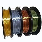 KEHUASHINA, filamento PLA, 1,75 mm di diametro per stampante 3D – lucido in metallo dorato di seta, bronzo, rame, nero bianco arcobaleno oro rosa – 1 kg, oro + argento + rame + bronzo., 1