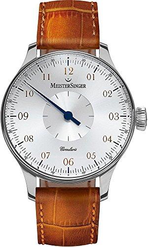 Meistersinger Circularis CC101 - Reloj mecánico Manual de Viento para Hombre, Esfera de Plata analógica de 43 mm con Cristal de Zafiro