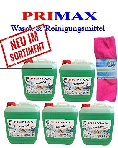 5x5 L Primax Flüssigwaschmittel grün mit Ausgießer u.Microfasertuch Waschgel Konzentrat ähnl.Waschpulver Power Aktiv