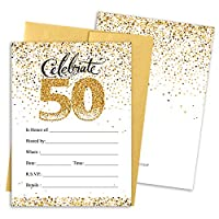 White and Gold 50th Birthday Party Invitations - 10 Cards with Envelopes