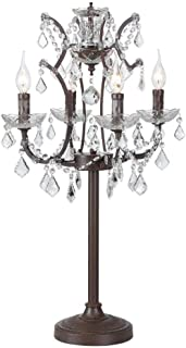 4 Light Wrought Iron French Royal Crystal Table Bedroom Lamps Industrial Antique Retro Light Lighting Living Room Decorative