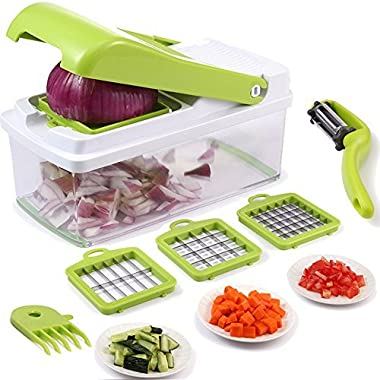 Vegetable Chopper,Upintek Vegetable Fruit Dicer,Effortless No-Mess Salad Onion Vegetable Cutter+Peeler Slicer (Freebies),3Interchangeable Blades Set with Food Container,Cleaning Brush for Veggie Pasta