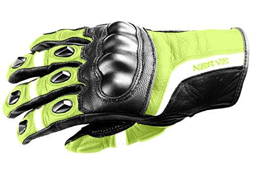 Nerve Guantes de Moto de Cuero KQ12, Negro/Verde Neón, 12